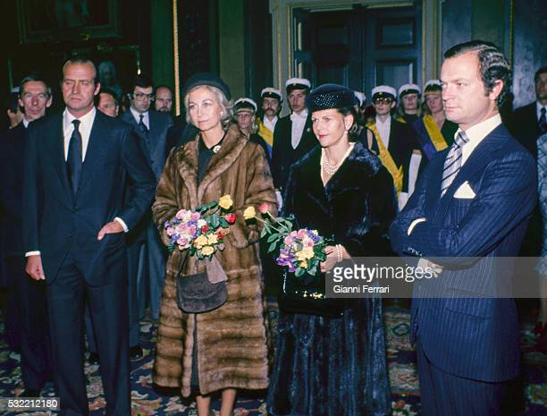During a State visit King Juan Carlos I of Spain and Queen Sofia of Spain visit the University of Uppsala with King Carl XVI Gustaf of Sweden and...