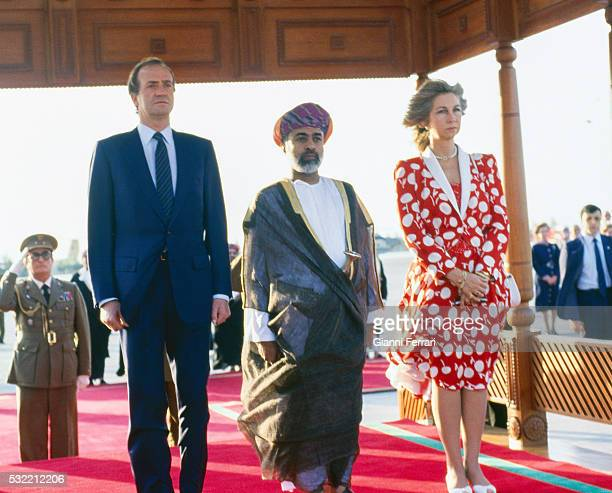 During a State visit King Juan Carlos I of Spain and Queen Sofia of Spain are greeted at the airport by Sultan Gabus Bin Said Muscat Oman December...