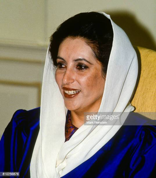 During a State Visit Prime Minister of Pakistan Benazir Bhutto smiles in the Oval Office at the White House Washington DC April 11 1995 She was there...