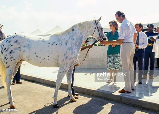 During a State visit Queen Sofia of Spain and King Juan Carlos I of Spain pet a racecourse at Sohar Muscat Oman December 1985