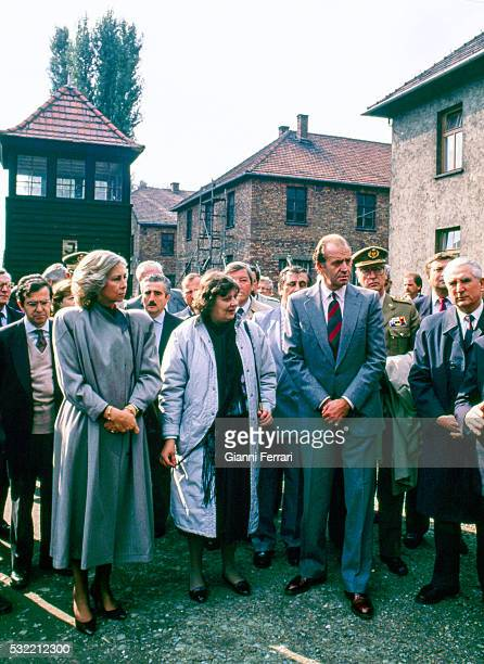 During a State visit Queen Sofia of Spain and King Juan Carlos I of Spain tour Auschwitz concentration camp Auschwitz Poland October 5 1989