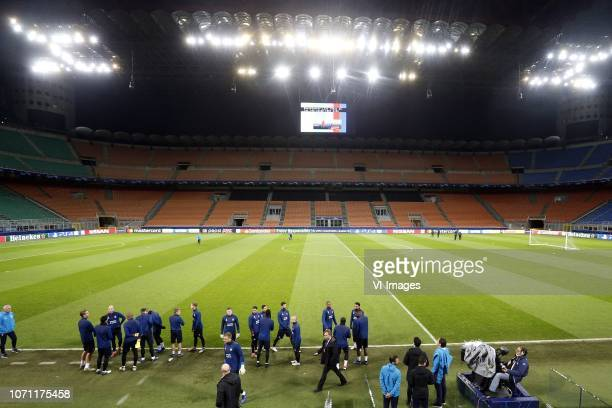 during a training session prior to the UEFA Champions League group B match between Internazionale Milan and PSV Eindhoven at Stadio Giuseppe Meazza...