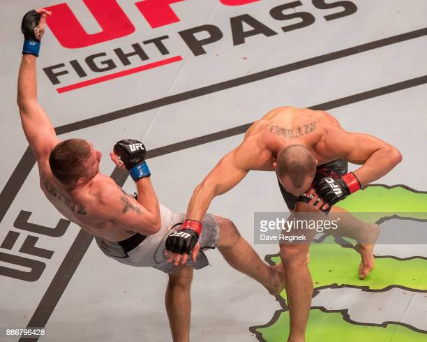during a UFC bout at Little Caesars Arena on December 2 2017 in Detroit Michigan Alvarez defeated Gaethje by TKO in Round3