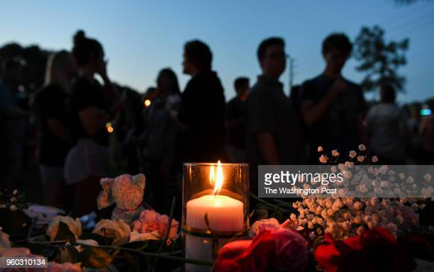 during a vigil for the victims od the Santa Fe High School shooting where nine students and one teacher were killed