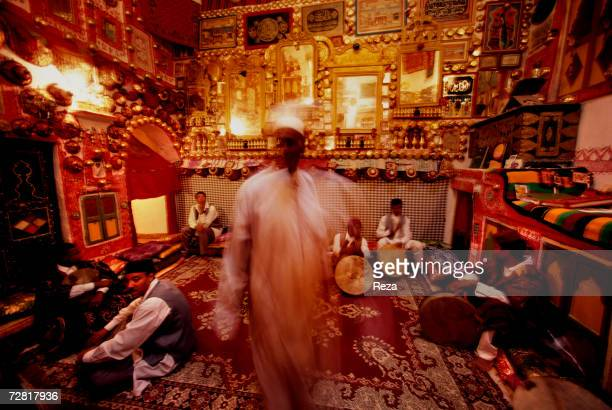 During a wedding scene in a traditional typical home performed for the tourists a group of musicians plays music April 2000 in Ghadames Libya