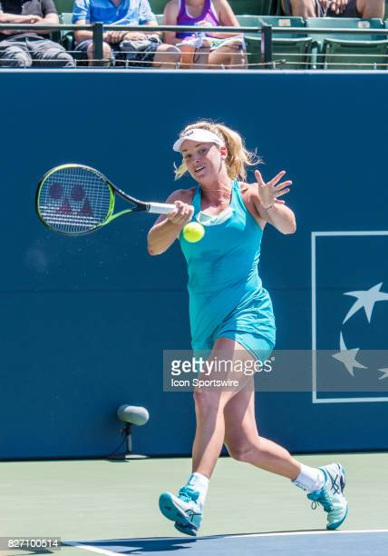 During a WTA singles championship round at the Bank of the West Classic between at the Taube Family Tennis Stadium in Stanford University, Sanford,...