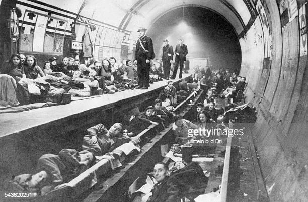2WW GB during / Air War Battle of Britain Underground stations serving as shelters during the german bomb attacks on London 1940