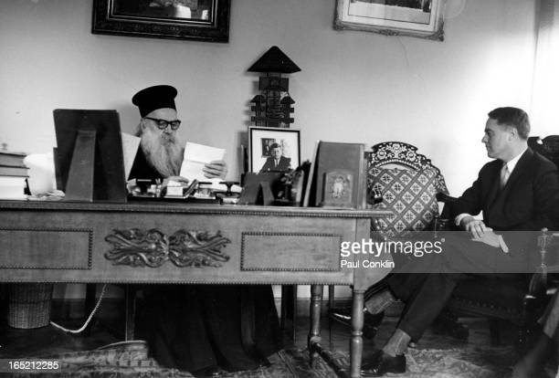 During an aroundtheworld trip to visit Peace Corps volunteers Patriarch Athenagoras I of Constantinople reads a letter presented by Peace Corps...