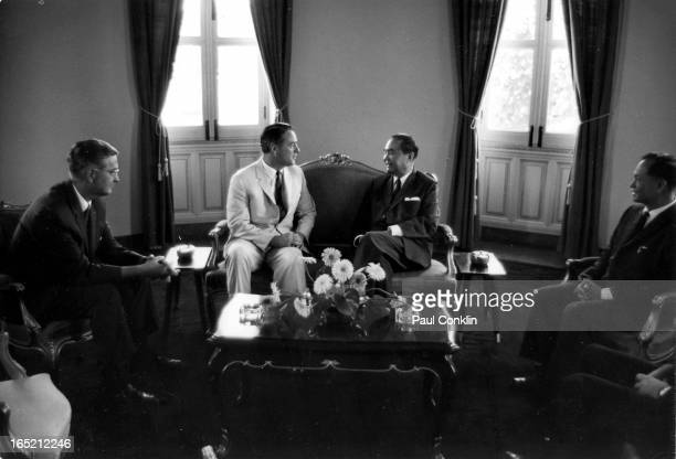 During an aroundtheworld trip to visit Peace Corps volunteers Peace Corps founder and president Sargent Shriver talks with Deputy Prime Minister...