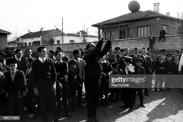 During an aroundtheworld trip to visit Peace Corps volunteers Peace Corps founder and president Sargent Shriver joins students in a game during his...