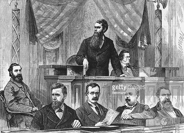 During an assembly at the Senate, Mr. Ferry, the Senate President, announces the results of the election between Rutherford B. Hayes and Samuel J....