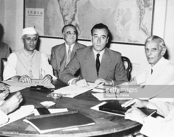 During an historic conference in New Delhi Lord Louis Mountbatten and the main Indian leaders agree upon the partition of India according to a...