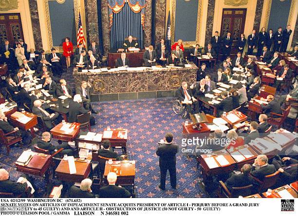During an impeachment trial prompted by the Lewinsky sex scandal presidered over by Chief Justice William Rehnquist the United States Senate votes on...