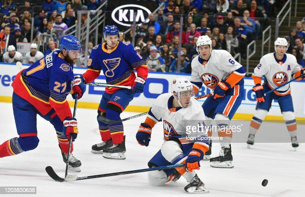 during an NHL game between the New York Islanders and the St Louis Blues on February 27 at Enterprise Center St Louis MO Photo by Keith Gillett/Icon...