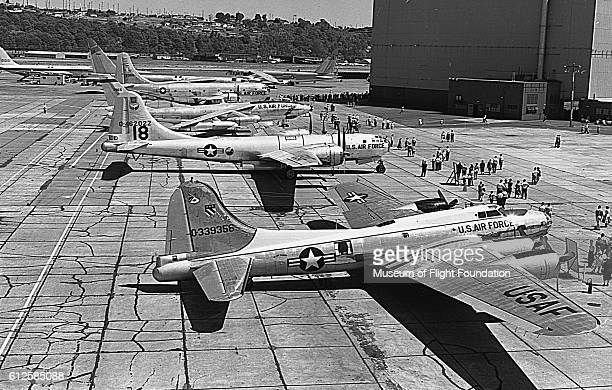 During an open house at Boeing Plant 2 in Seattle Washington people walk around to view the lineup of Boeing bomber planes This lineup at the...