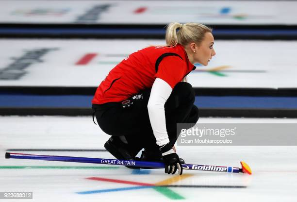 during Anna Sloan of Great Britain competes the Curling Womens' bronze Medal match between Great Britain and Japan on day fifteen of the PyeongChang...