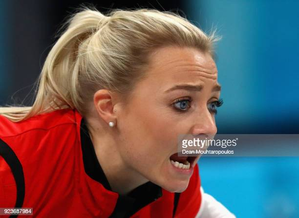 during Anna Sloan of Great Britain shouts instructions the Curling Womens' bronze Medal match on day fifteen of the PyeongChang 2018 Winter Olympic...