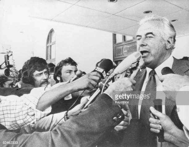 During Australia's constitutional crisis of 1975 Prime Minister Gough Whitlam addresses reporters outside the Parliament building in Canberra after...