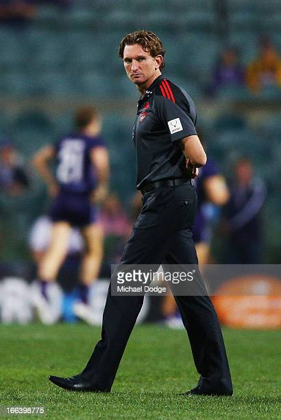 during Bombers coach James Hird looks ahead during the round three AFL match between the Fremantle Dockers and the Essendon Bombers at Patersons...