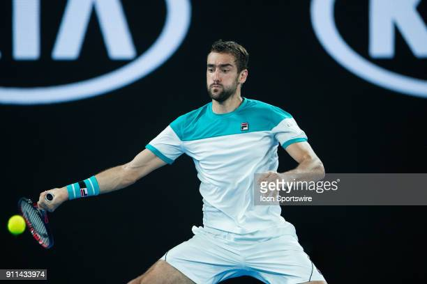 during day fourteen match of the 2018 Australian Open on January 28 2018 at Melbourne Park Tennis Centre Melbourne Australia