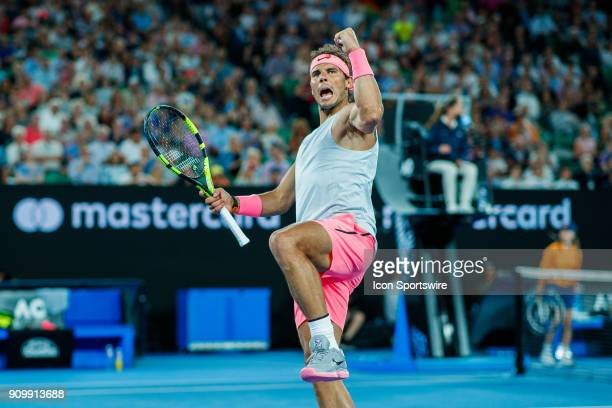 during day nine match of the 2018 Australian Open on January 23 2018 at Melbourne Park Tennis Centre Melbourne Australia