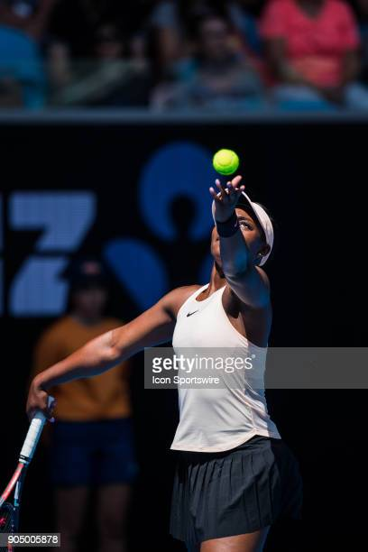 during day one match of the 2018 Australian Open on January 15 2018 at Melbourne Park Tennis Centre Melbourne Australia