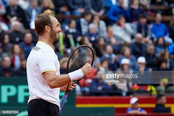 during day two of the Davis Cup World Group Quarter Finals match between Spain and Germany at Plaza de Toros de Valencia on April 7 2018 in Valencia...