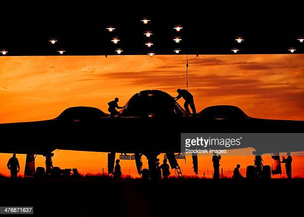 During early morning operations, 131st Bomb Wing Missouri Air National Guard mantainers service a B-2 Spirit stealth bomber at Whiteman Air Force Base, Missouri.