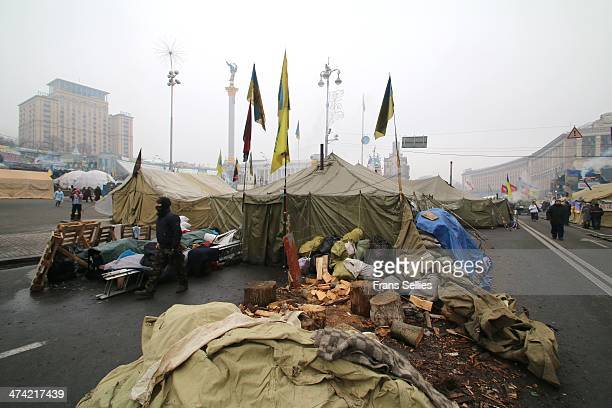 During Euromaidan the protesters erected a tent village on independence square, Kiev