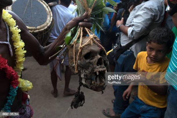 During gajan children also enjoying the performances with a human head and dead bodies in Burdwan India on 13 April 2017 quotGajanquot is one of the...