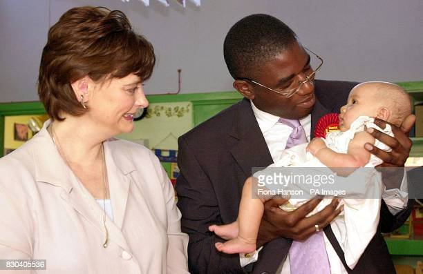 During her first official engagement since the birth of her son Leo Cherie Blair watches Labour's candidate in the Tottenham byelection David Lammy...