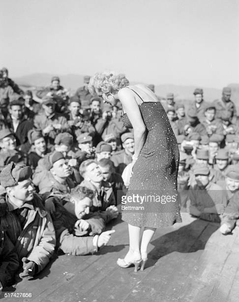 During her tour of Korea entertaining troops Marilyn Monroe had question and answer periods during which she played quiz kid to the GI interrogators...
