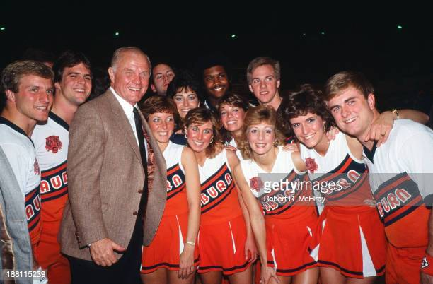During his campaign for the Democratic Presidential nomination American politician and former astronaut Senator John Glenn poses with members of the...