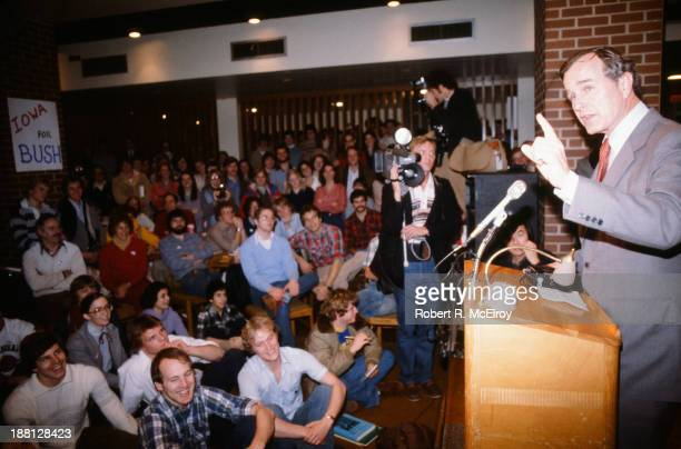 During his campaign for the Republican Presidential nomination American politician George HW Bush speaks to students at the University of Iowa Iowa...