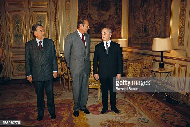 During his first official visit to France East German President Erich Honecker meets French Prime Minister Jacques Chirac and Foreign Affair Minister...