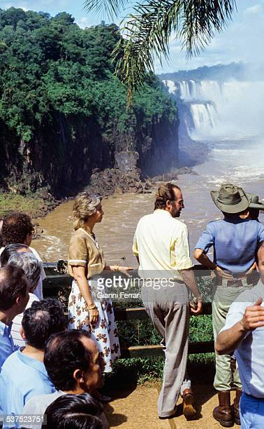 During his official trip to Argentina the Spanish Kings Juan Carlos of Borbon and Sofia of Greece visit Iguazu Falls 17th April 1985 Argentina