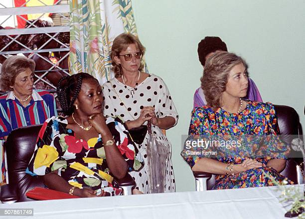 During his official visit to Congo the Spanish Queen Sofia visit the House of Women 23rd November 1993 Brazzaville Congo
