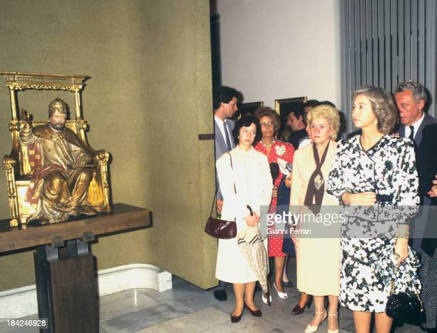 During his official visit to Czechoslovakia the Spanish Queen Sofia visit an exhibition at the Monastery of Krisky 8th July 1987 Prague Czechoslovakia