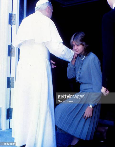 During his official visit to Spain the Pope John Paul II is greeted by the Infanta Cristina daughter of the Spanish Kings at the Royal Palace Second...