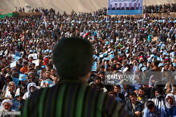 During his presidential campaign, Dr Abdullah talks to thousands of people in front of the site of the Buddah of Bamiyan bombed by the Talibans in...