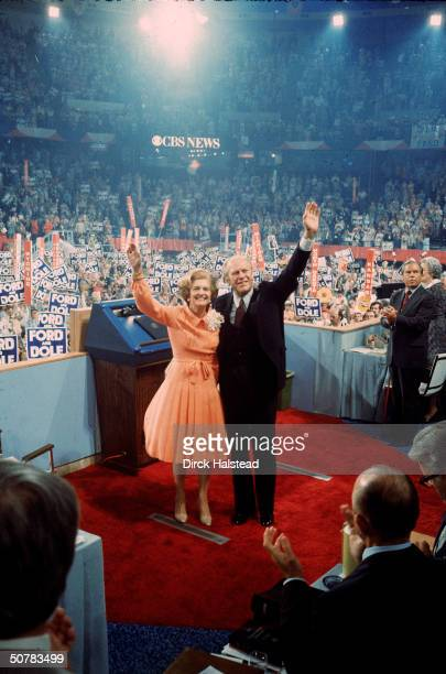 During his reelection campaign American President Gerald Ford and First Lady Betty Ford wave to the crowd at the Republican National Convention...