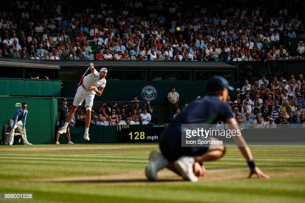 During his semi-final match of the 2018 Wimbledon Championships on July, 13 2018, at the All England Lawn Tennis and Croquet Club in London, England.