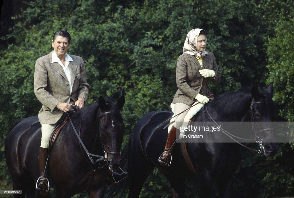 Queen Reagan Riding : News Photo