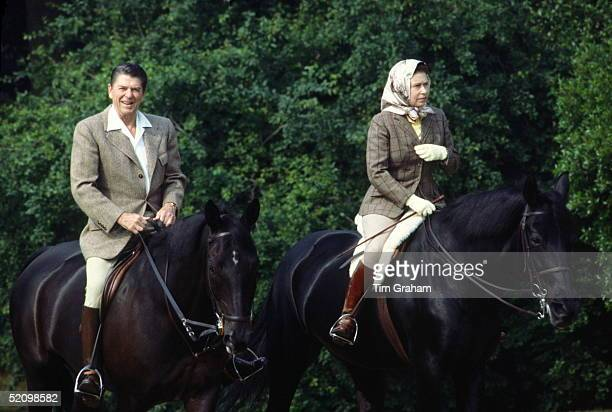 During His State Visit, Queen Elizabeth Ll Riding Her Horse 'burmese' In Windsor Great Park With President Reagan Who Is Riding 'centennial'. Wearing...