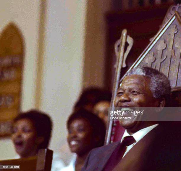 During his visit to Atlanta, Georgia in the summer of 1990, Nelson Mandela smiles during a service in his honor at Big Bethel Baptist Church...