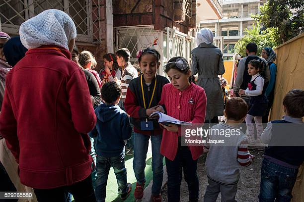 During Lunch break children play in the yard of The Syrian School for the Son's and Daughters of the Martyer's on October 312013 in Antakya Turkey