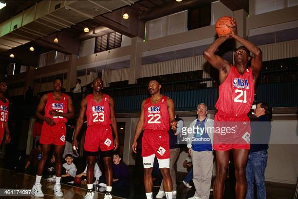 during NBA AllStar Practice as part of the 1991 All Star Weekend on February 9 1991 at the Charlotte Coliseum in Charlotte North Carolina NOTE TO...