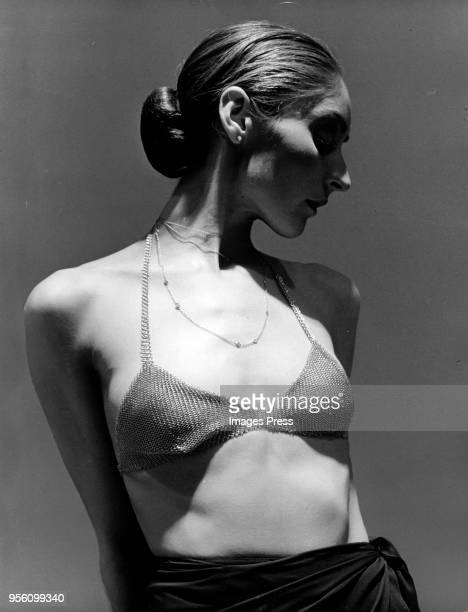 During New York fashion week, a model wears a bra made of solid gold mesh by Italian designer Elsa Peretti circa May 1975 in New York City.