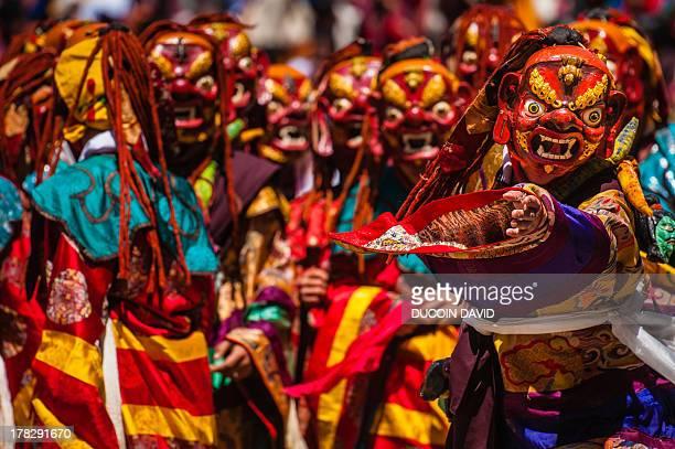 during paro tsechu festival, bhutan. - paro stock pictures, royalty-free photos & images