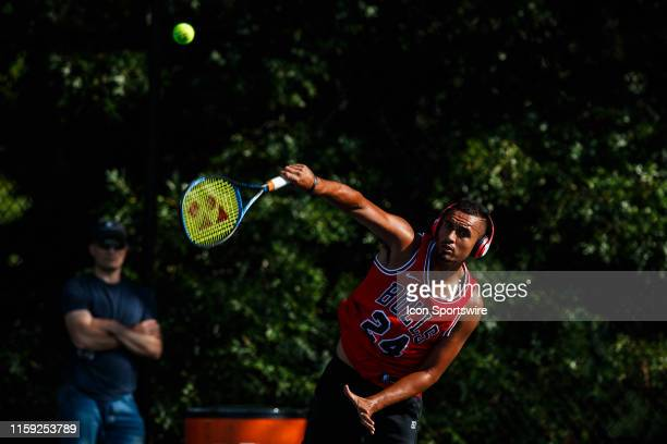 During practice for his day 5 match of the 2019 Citi Open on August 2 ,2019 at Rock Creek Park Tennis Center in Washington D.C.